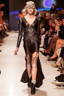 show outfit custom made laced leather dress