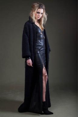 JANBOELO black laced leather dress