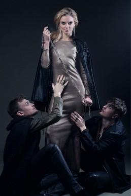 JANBOELO designed custom made silver leather dress