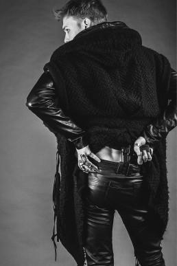 JANBOELO model gun leather pants leather jacket by JANBOELO