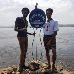 Kara-Tunga guides Theo and Chongz at the Source of the Nile in Jinja Uganda