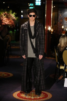 JANBOELO   runway blocked coat and leather trousers