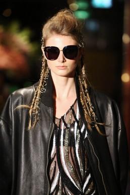 janboelo sunglasses Bolon Eyewear dress and leather coat