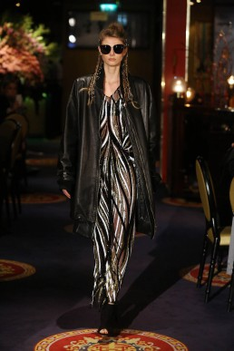 JanBoelo show in collaboration with Bolon Eyewear dress and leather coat